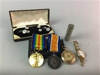 Lot 19-A LOT OF TWO WWI SERVICE MEDALS WITH COINS AND WATCHES