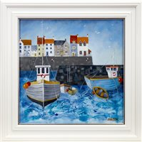 Lot 529-LYNNE JOHNSTONE, CHOPPY HARBOUR oil on canvas...