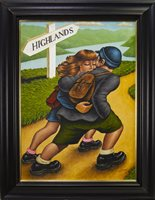 Lot 688-HIGHLAND FLING, AN OIL BY GRAHAM MCKEAN