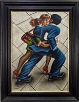 Lot 629 - SHOPPERS, AN OIL BY GRAHAM MCKEAN