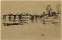 Lot 452-CHELSEA BRIDGE, AN ETCHING BY WHISTLER