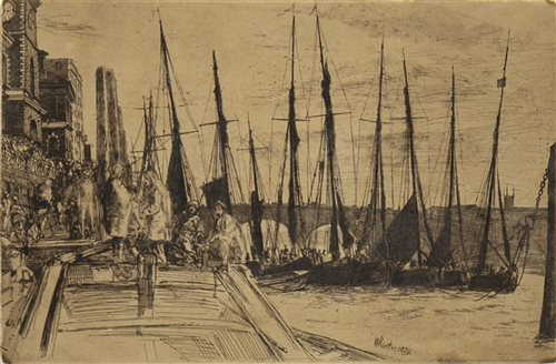 Lot 455-BILLINGSGATE, AN ETCHING BY WHISTLER