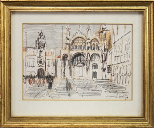 Lot 457-SAN MARCO FROM PIAZZATTA, II, A WASH DRAWING BY LORD EARL HAGUE