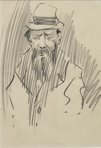 Lot 458-STUDY OF AN OLD MAN, A PENCIL SKETCH BY JOHN DUNCAN FERGUSSON