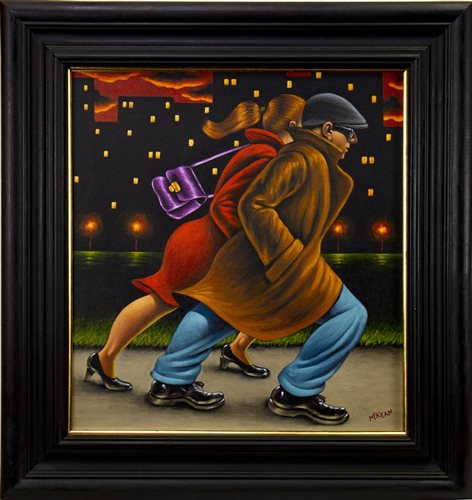 Lot 663 - LATE NIGHT SHOPPING, AN OIL BY GRAHAM MCKEAN