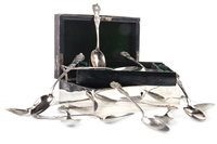 Lot 829-A GEORGE V SILVER JEWELLERY BOX AND ELEVEN VICTORIAN SCOTTISH SILVER TEASPOONS