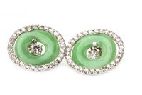Lot 34-A PAIR OF ART DECO STYLE DIAMOND AND GREEN HARDSTONE EARRINGS