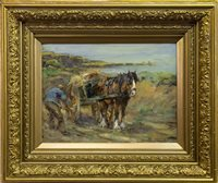Lot 462-LOADING THE HORSE CART, AN OIL BY GEORGE SMITH