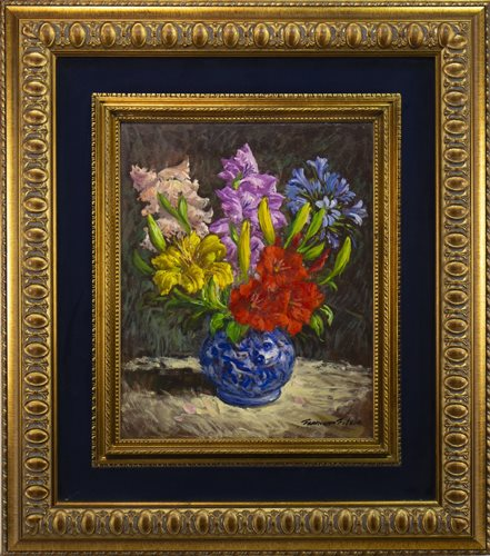 Lot 463-MIXED BOUQUET IN A BLUE AND WHITE VASE, AN OIL BY FRANCESCO FILOSA