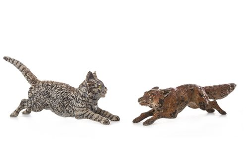 Lot 859 - A LOT OF TWO COLD PAINTED BRONZE FIGURES OF A CAT AND A FOX