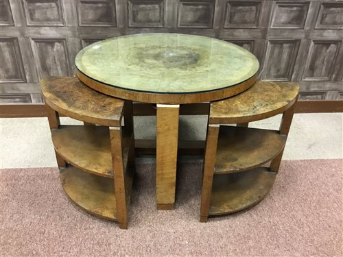 Lot 881 - A NEST OF ART DECO BURR AND FIGURED WALNUT TABLES