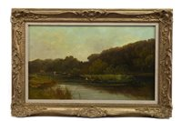 Lot 467-PUNT FISHING ON THE THAMES, AN OIL BY ROBERT WEIR ALLAN