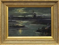 Lot 490-CONTINENTAL RIVER SCENE, AN OIL BY JAMES KAY