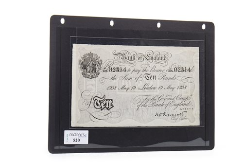 Lot 520-THE BANK OF ENGLAND £10 TEN POUNDS NOTE, 1938