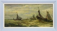 Lot 472-FISHING BOATS IN A SQUALL, AN OIL ATTRIBUTED TO THOMAS BUSH HARDY