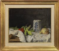 Lot 474-STILL LIFE WITH BLUE VASE, AN OIL BY GEORGE WEISSBORT