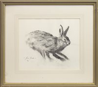 Lot 669 - STUDY OF A HARE, A CHARCOAL BY JOHN BLACK