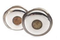 Lot 840-A PAIR OF SILVER BOWLS SET WITH CARTWHEEL PENNIES DATED 1797