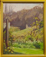Lot 642-VIEW OF THE OLD TOWN FROM PRINCES STREET GARDENS, AN OIL BY FLORENCE ST JOHN CADELL