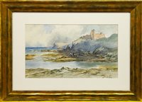 Lot 644 - DUNNURE CASTLE, AYRSHIRE, A WATERCOLOUR BY THOMAS SWIFT HUTTON