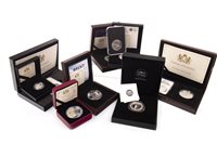 Lot 588 - NINE SILVER PROOF AND OTHER COINS