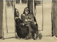 Lot 507-IN THE DOORWAY, AN INK AND WASH BY JOSEF HERMAN