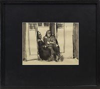 Lot 507 - IN THE DOORWAY, AN INK AND WASH BY JOSEF HERMAN