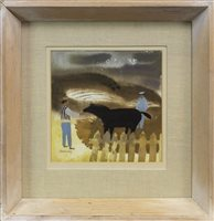 Lot 509-MEN AND HORSE, A GOUACHE BY MARY FEDDEN