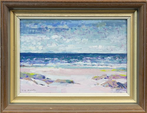 Lot 510-SAND BEACH, ISLE OF COLL, AN OIL BY TOM HOVELL SHANKS