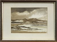 Lot 511-SCOTTISH LANDSCAPE WITH LOCH,  A WATERCOLOUR BY TOM SHANKS