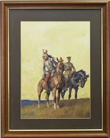 Lot 493-A FRENCH CUIRASSIER AND A MOUNTED BRITISH STAFF OFFICER, A GOUACHE BY LIONEL EDWARDS
