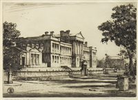 Lot 683 - KELVINSIDE ACADEMY FROM THE WEST., AN DRYPOINT BY WILFRED CRAWFORD APPLEBY