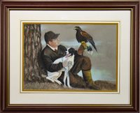 Lot 652 - A MAN, EAGLE AND DOG, A PASTEL BY JAMES F HAMILTON