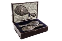 Lot 852-A VICTORIAN SILVER THREE PIECE DRESSING TABLE SET
