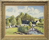 Lot 658-COTTAGE SCENE, AN OIL BY ROBERT THOMSON