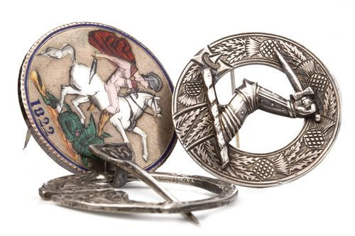 Lot 67-THREE SILVER BROOCHES