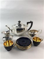 Lot 51-A THREE PIECE SILVER PLATED TEA SERVICE WITH A CROWN DEVON PART COFFEE SERVICE