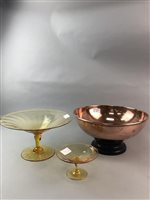Lot 15-A LOT OF TWO YELLOW GLASS TAZZAS AND A COPPER BOWL