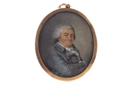 Lot 608-PORTRAIT OF A GENTLEMAN, A WATERCOLOUR AND IVORY BY LOUIS ALEXANDRE FRANCOIS
