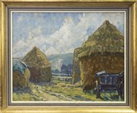 Lot 656 - THE FIELDWAY, DITCHLING, AN OIL BY ETHEL LOUISE RAWLINS