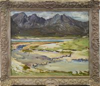Lot 490-THE BLACK CUILLIN, AN OIL BY WILLIAM MERVYN GLASS