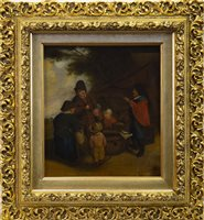 Lot 667-EXTERIOR GENRE SCENE WITH SIX FIGURES, AN OIL ON LATE 17TH CENTURY OAK PANEL