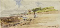 Lot 671 - KIPPFORD BY DALBEATTIE; and FIGURES ON A BEACH, A PAIR OF WATERCOLOURS BY JAMES N MCLAURIN
