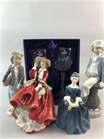Lot 26-A LOT OF ROYAL DOULTON AND LLADRO FIGURES WITH BOXED SETS OF CRYSTAL