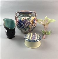 Lot 47-A POOLE POTTERY VASE, A ROYAL COPENHAGEN DISH, AND OTHER CERAMICS