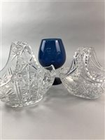 Lot 43-A LOT OF TWO CRYSTAL BASKET COMPORTS AND OTHER GLASS
