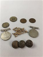 Lot 21-A COLLECTION OF COINS, MEDALS, BUTTONS AND A WATCH CHAIN