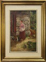 Lot 677 - GIRL FEEDING HENS, AN OIL BY JOHN MORISON