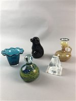 Lot 38-A MDINA GLASS VASE, A CAITHNESS GLASS CANDLE STAND AND OTHER GLASSWARE
