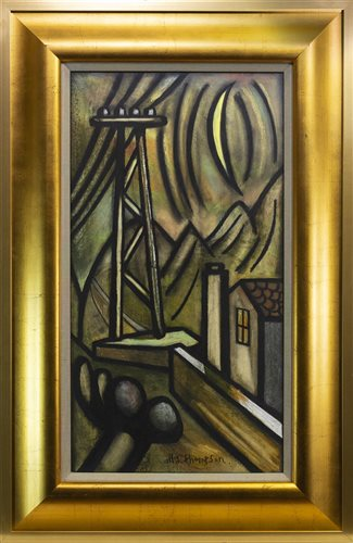 Lot 597 - NOCTURNAL MOUNTAIN SCENE WITH TELEGRAPH POLE BY ALLY THOMPSON